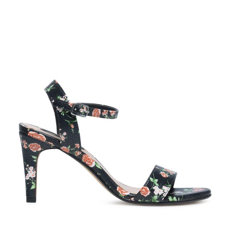 Sandalen met hak in bloemenprint