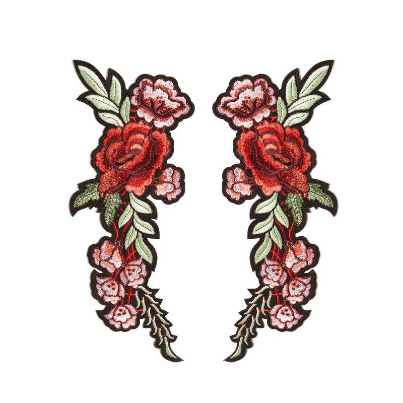Set mit 2 Blumen-Aufnähern