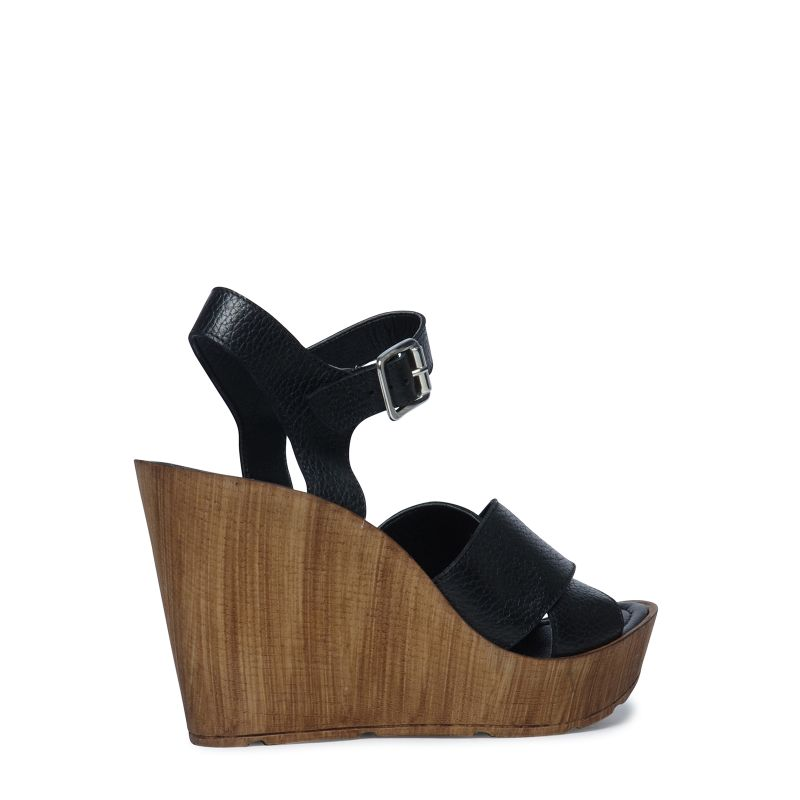 Sandales à talon compensé - noir
