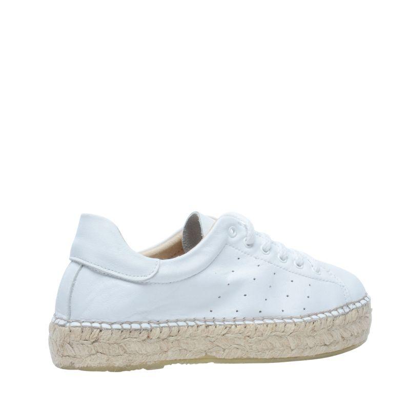 Witte lage sneakers met touw zolen