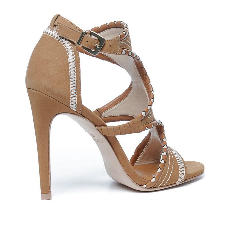 Sandalen met hak lichtbruin
