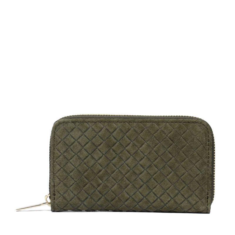 Suède portemonnee groen