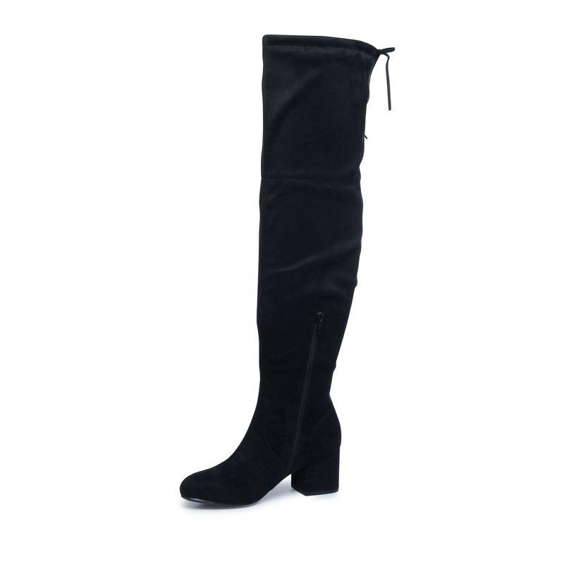 Zwarte overknee laarzen met blokhak