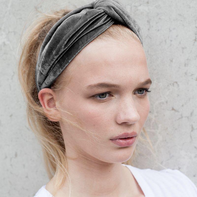 Velvet haarband grijs