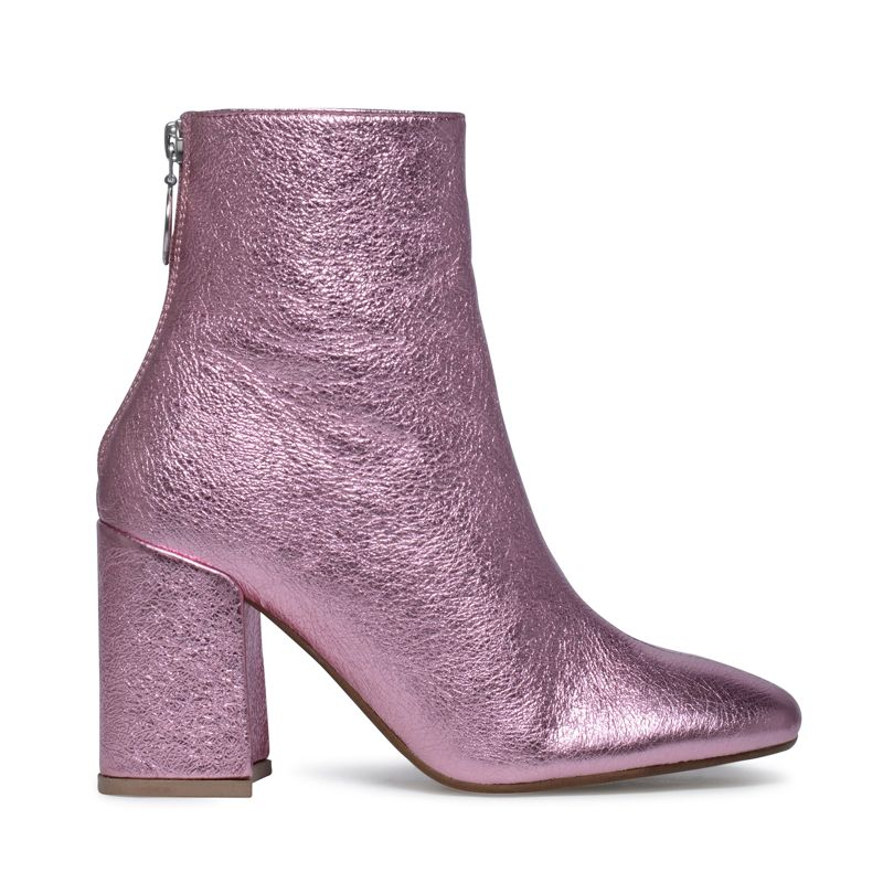 Enkellaarsjes metallic roze