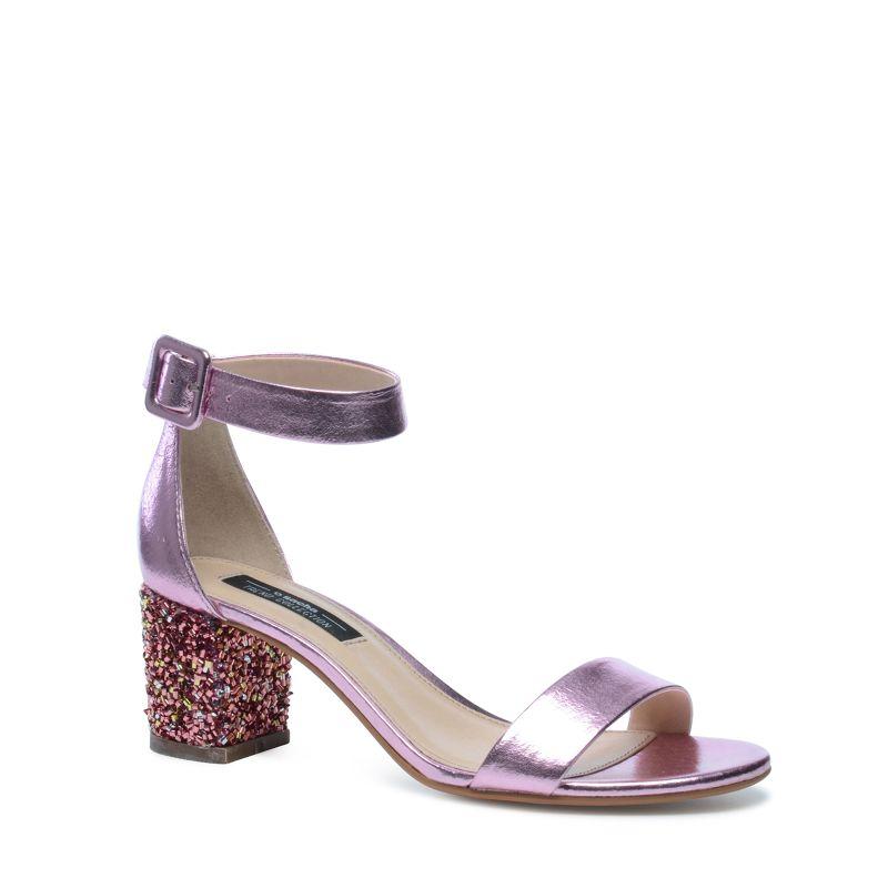 Sandales à talon - métallisé rose