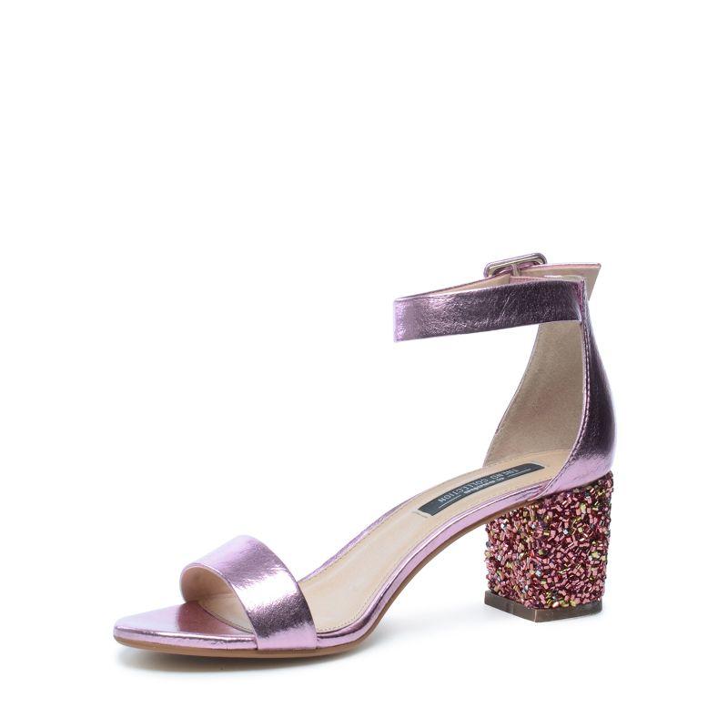Roséfarbene Metallic-Sandaletten