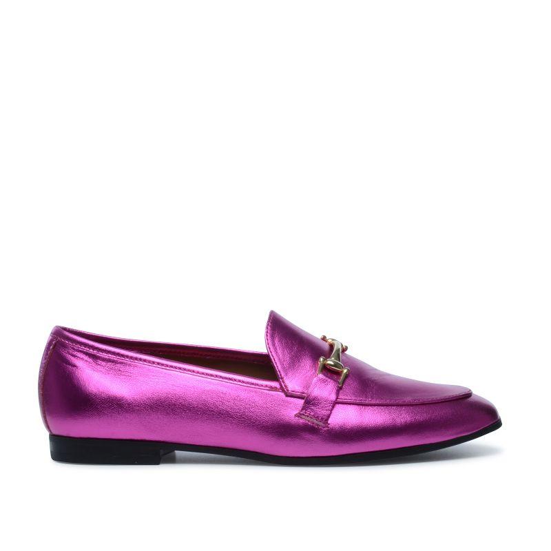 Fuchsia metallic loafers