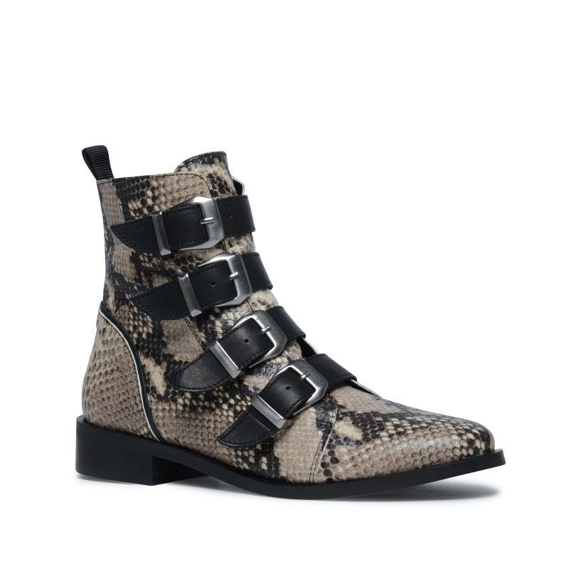 Buckle Boots mit Schlangenmuster