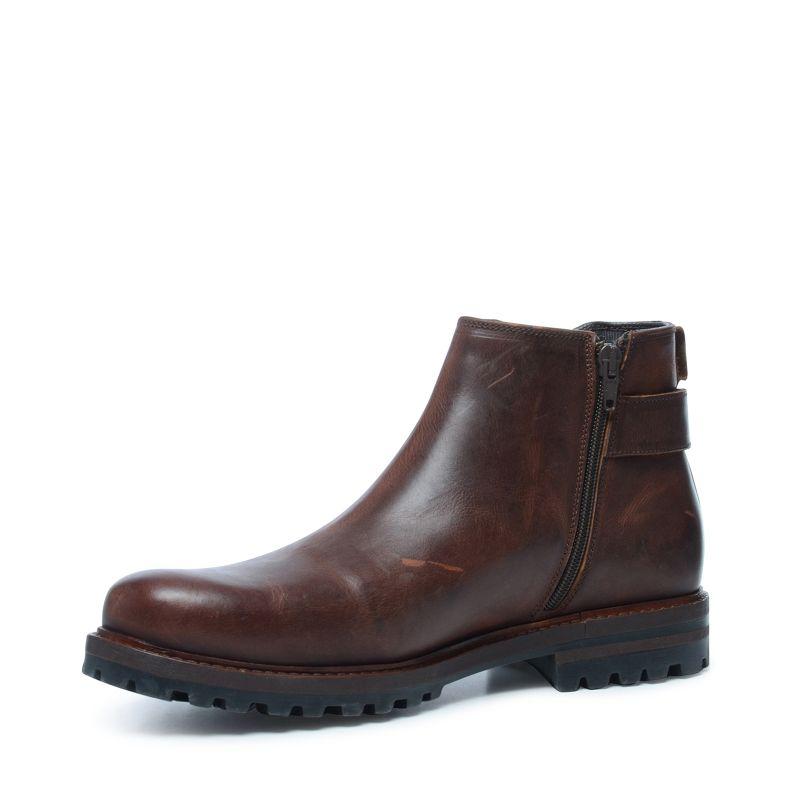 Cognac chelsea boots met gesp