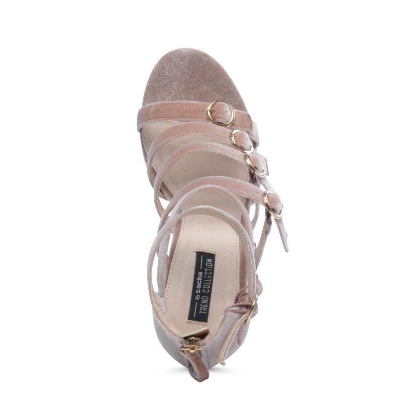Samt-Sandaletten altrosé