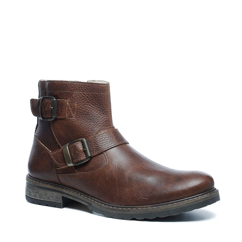 Cognac lage boots met gespen en imitatiebont
