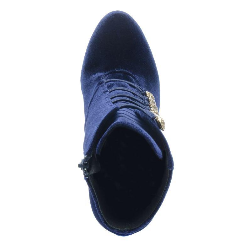 Donkerblauwe veterlaarzen met gouden details