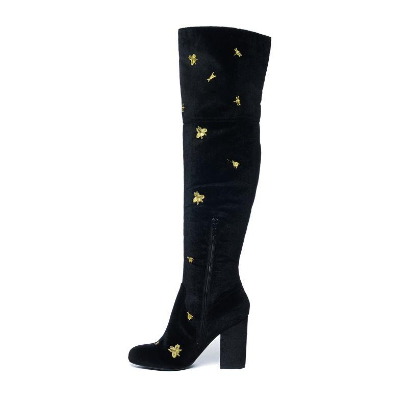 Zwarte overknee laarzen met gouden insecten print