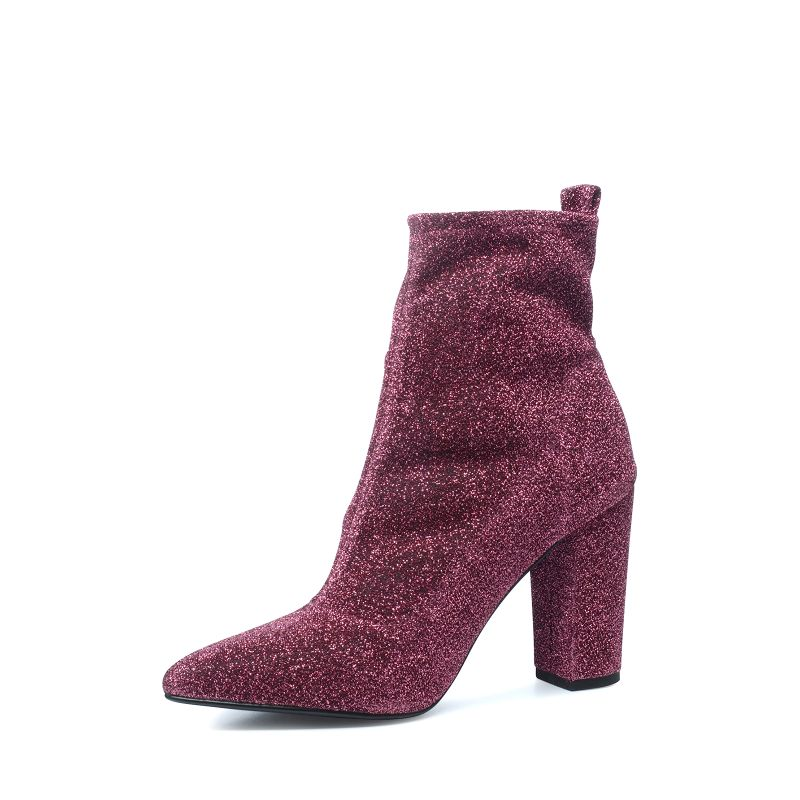 Bottines pailletées avec talon - rose