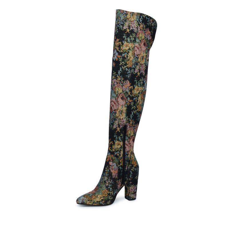 Overknee laarzen met bloemenprint