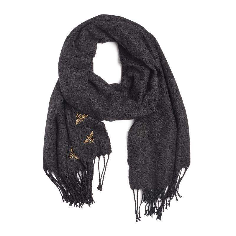 Sjaal antraciet met patches