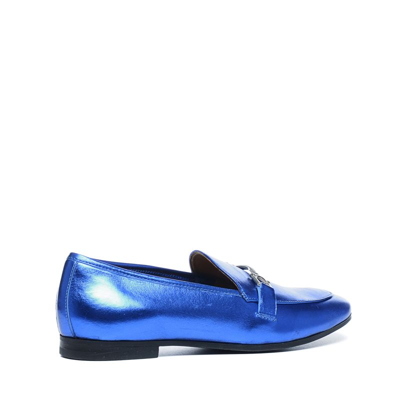 Blauwe metallic loafers