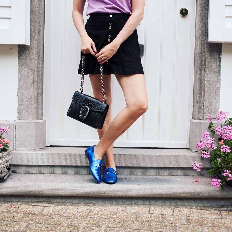 Blauwe metallic loafers