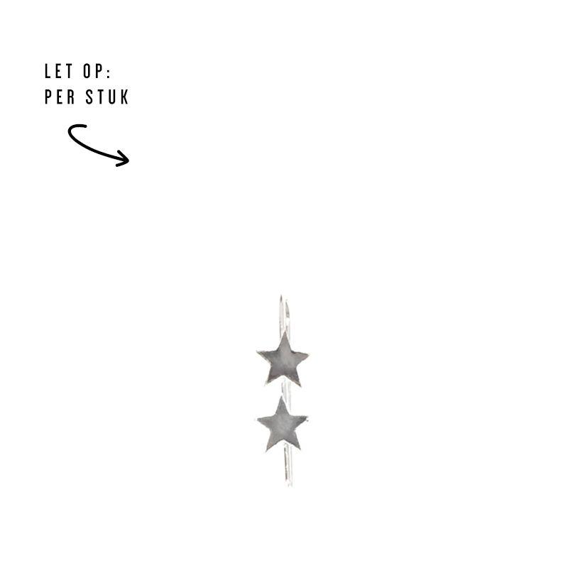 LUZ double stars oorbel zilver