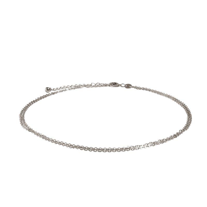 LUZ double chain choker zilver