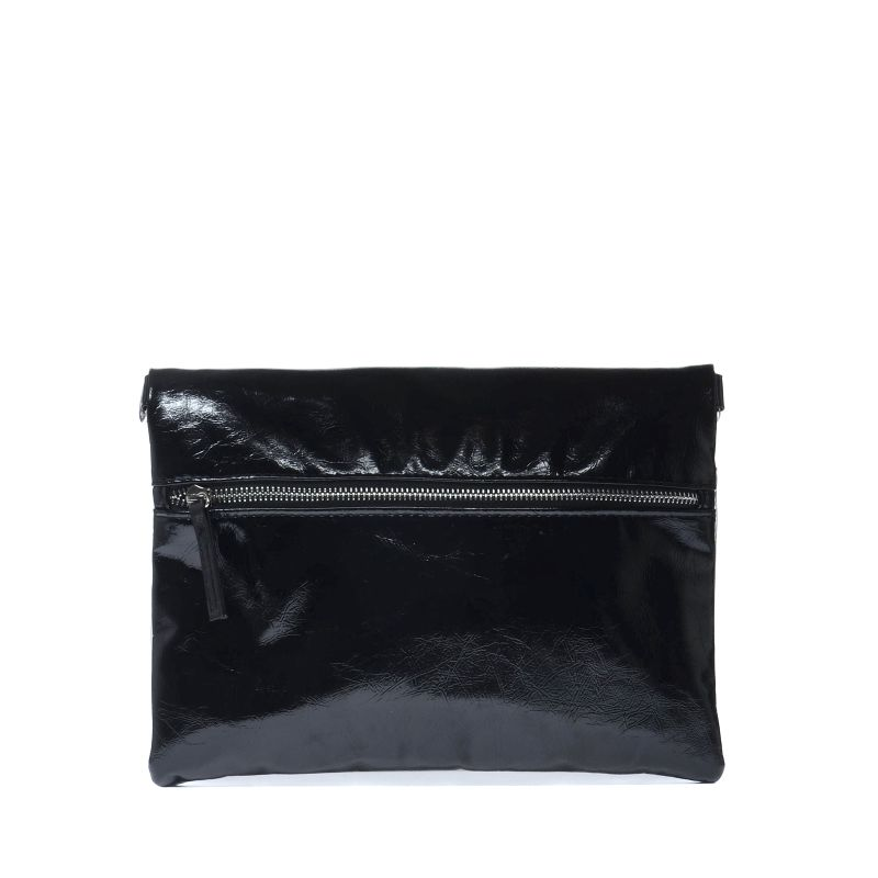 Metallic clutch zwart en zilver