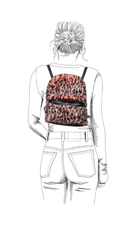 Sac à dos fluffy avec imprimé panthère - rose