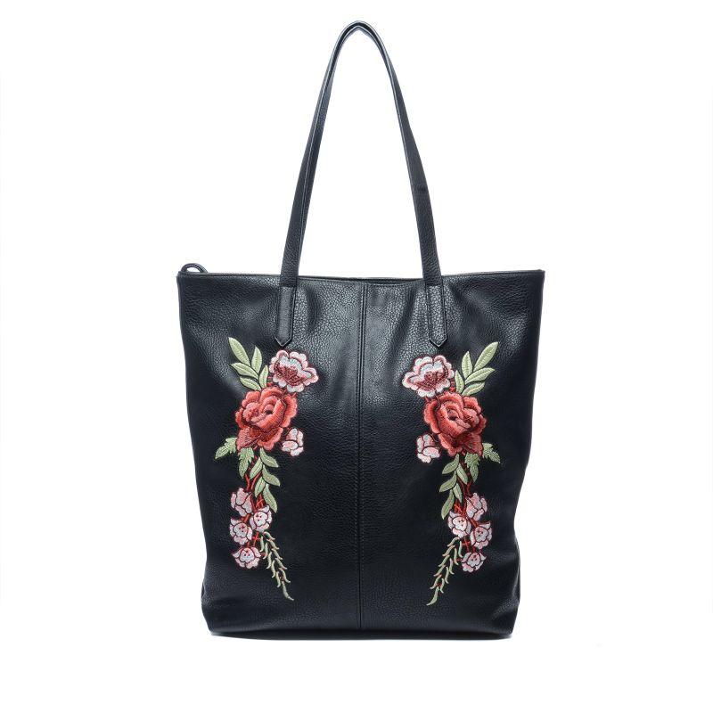 Zwarte shopper met embroidery bloemen