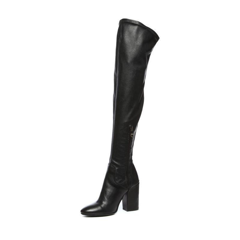 Zwarte overknee laarzen met hak leer