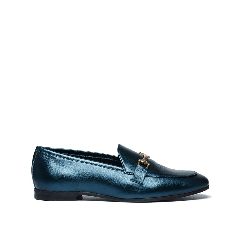 Groene metallic loafers
