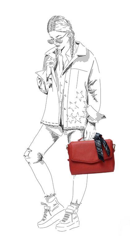 Sac bandoulière avec foulard - rouge