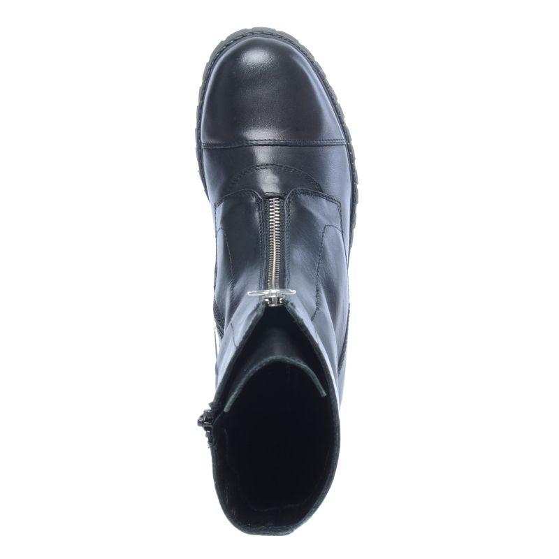 Schwarze Stiefeletten mit dekorativem Reißverschluss