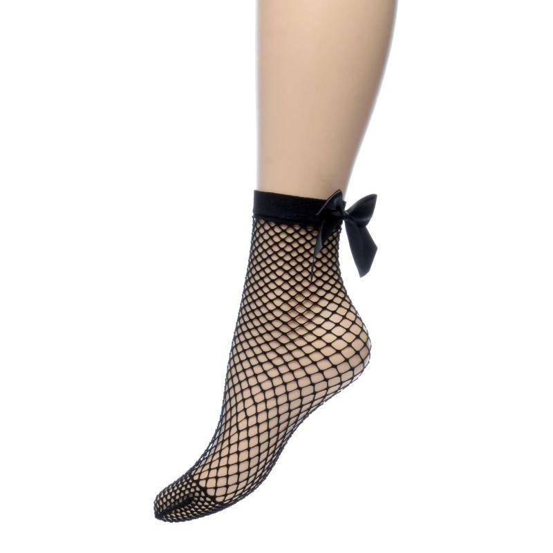 Fishnet sokken met strik zwart