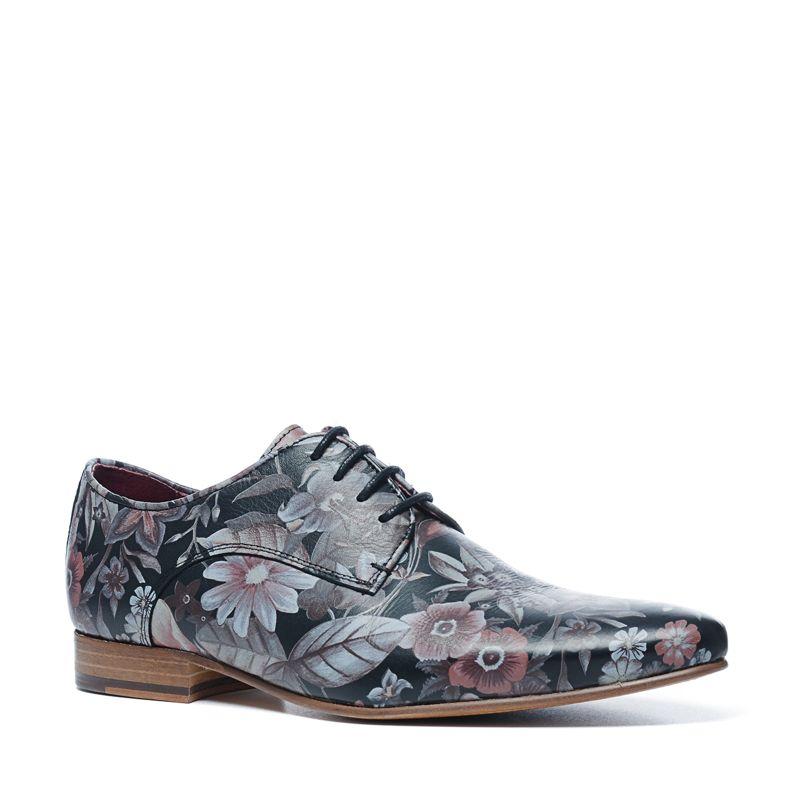 Chaussures à lacets avec imprimé fleuri - noir