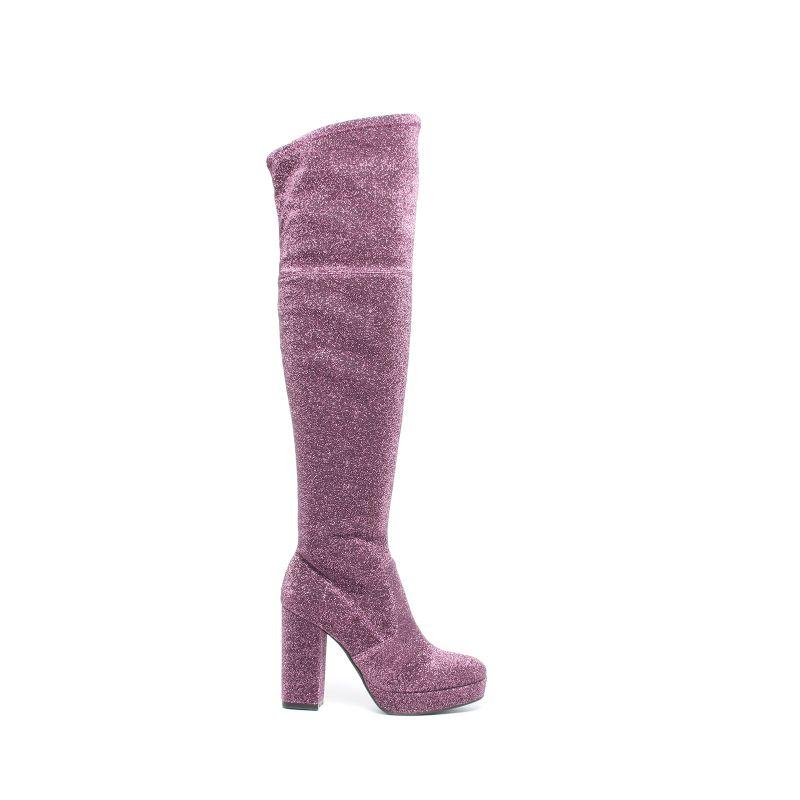 Sacha x Fashionchick roze glitter overknee laarzen