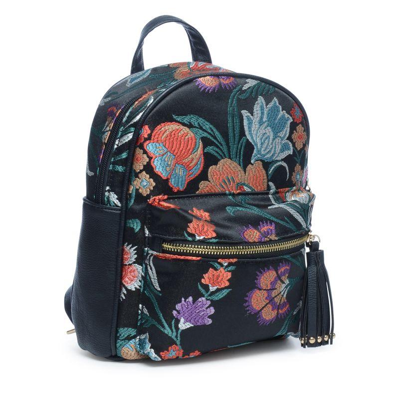 Petit sac à dos avec imprimé fleuri - noir