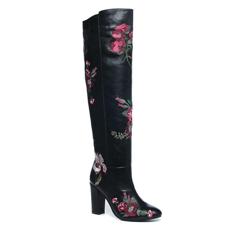 Zwarte overknee laarzen met embroidery