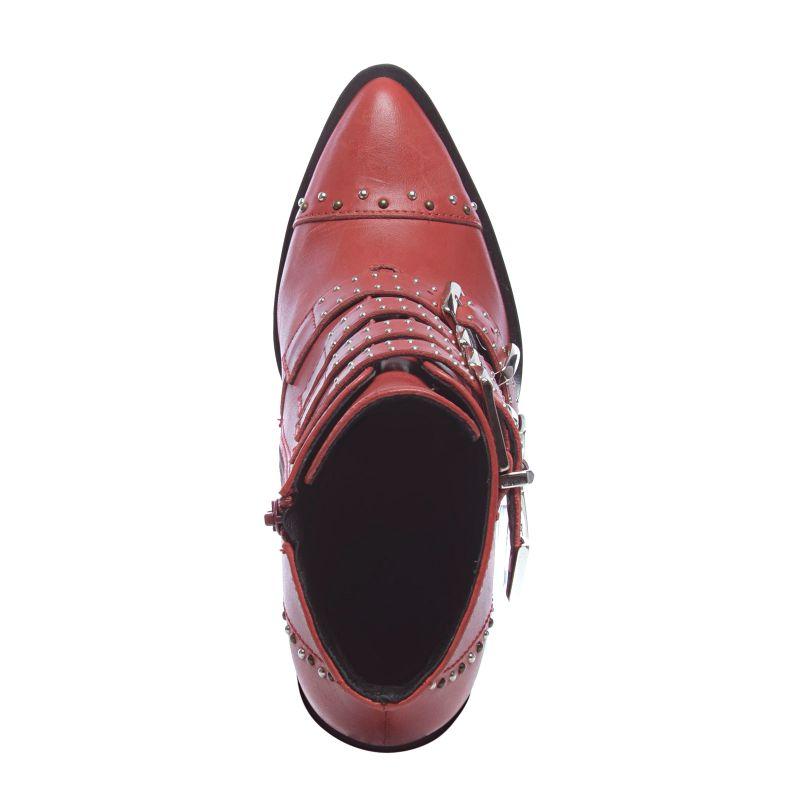 Buckle enkellaarjes met hak en studs rood