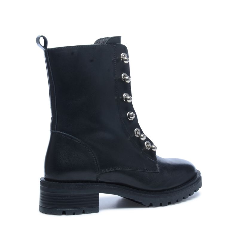 Zwarte biker boots met metal details