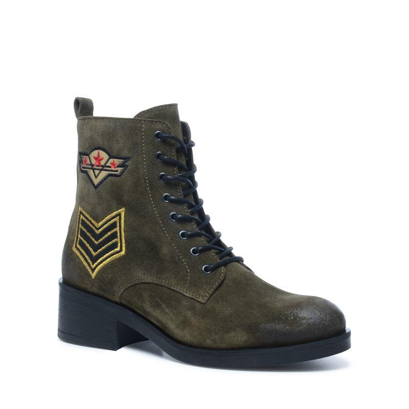 Donkergroene biker boots met patches