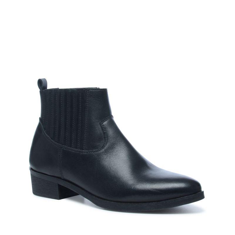 Zwarte leren korte laarzen
