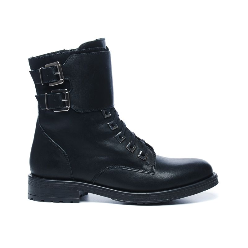 Bottines motardes avec sangle - noir