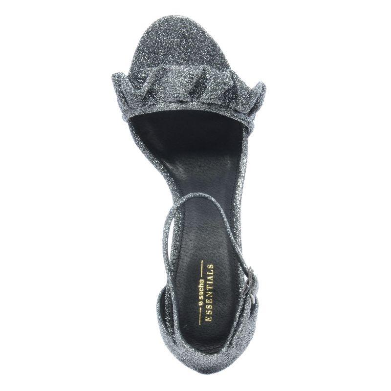 Zilveren glitter sandalen met hak en ruffles