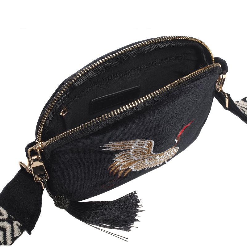 Zwarte schoudertasje met vogel embroidery
