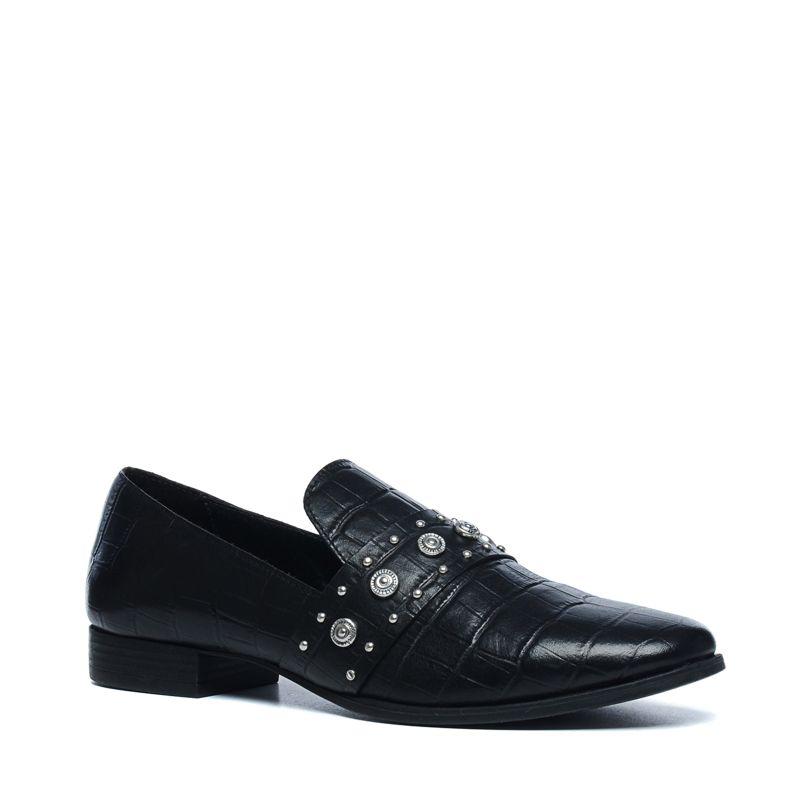 Zwarte loafer met snakeskin en details