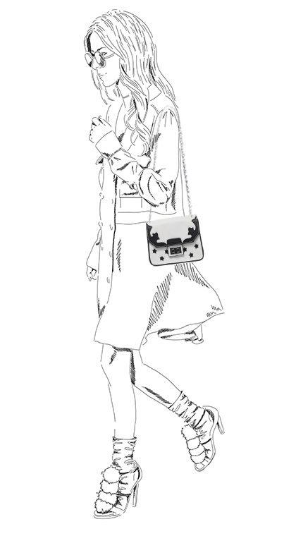 Wit schoudertasje met zwarte details