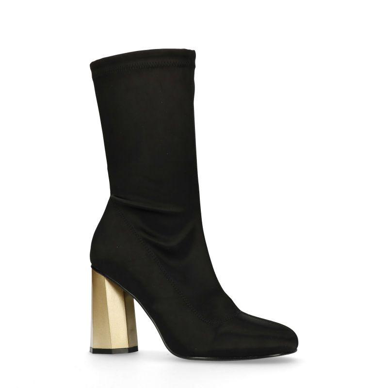 Zwarte sock boots met goudkleurige hak