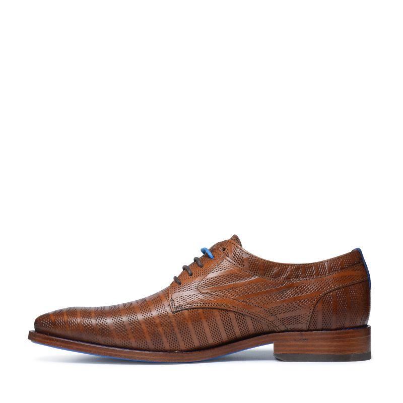 REHAB Brad stripes bruine veterschoenen met motief