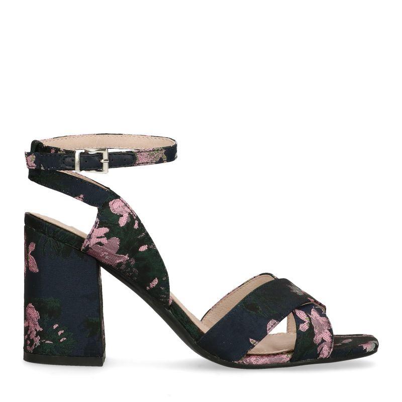 Sandalen met hak met bloemenprint