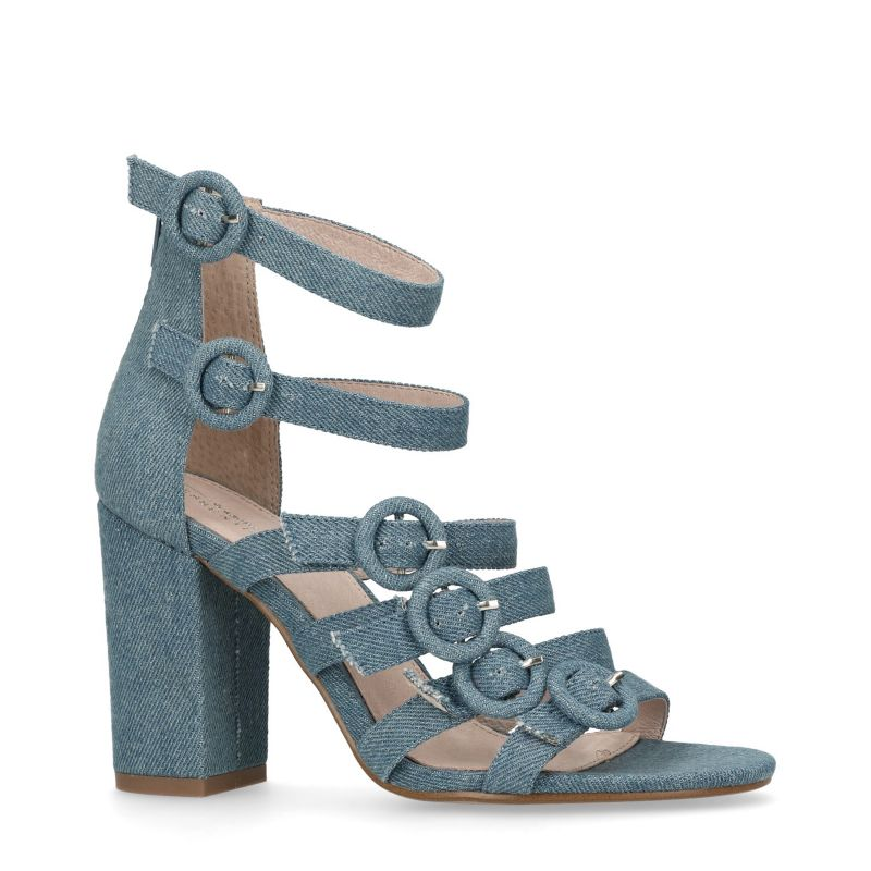 Sandalen met hak met gespen jeansblauw